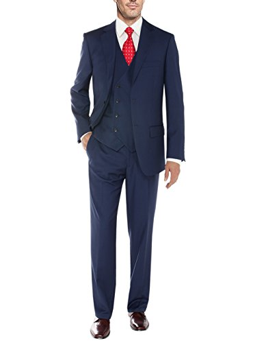 Salvatore Exte Men's Vested Three Piece Suit Blazer Jacket Dress Vest Plus Pant