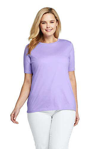 (Lands' End Women's Plus Size Supima Cotton Short Sleeve T-Shirt - Relaxed Crewneck, 2X, Light Amethyst)