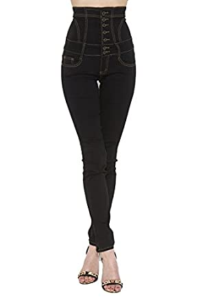 New Womens Ladies Skinny Slim Fit High Waisted Stretch Denim Black ...