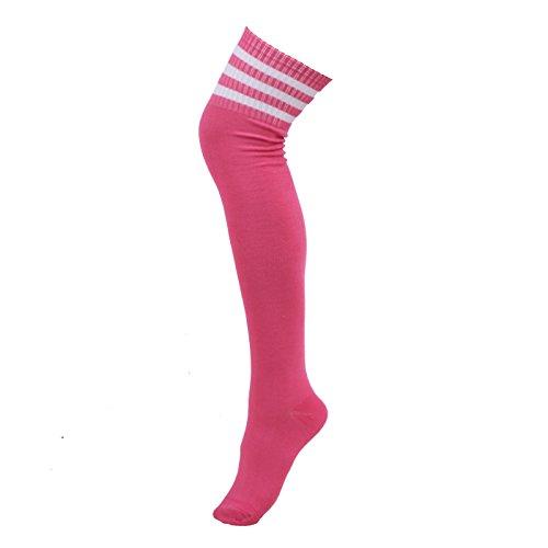 HDE Women Three Stripe Over Knee High Socks Extra Long Athletic Sport Tube Socks (Neon Pink White (Plus Size High Socks)