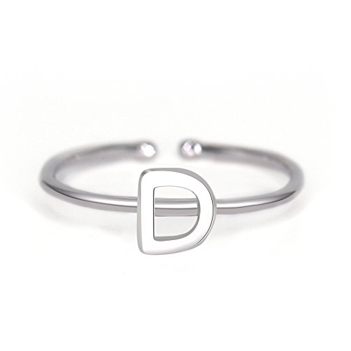 (espere Rhohdium Plated Sterling Silver 925 Stackable Initial Ring Alphabet Letter Knuckle Rings Bridesmaid)