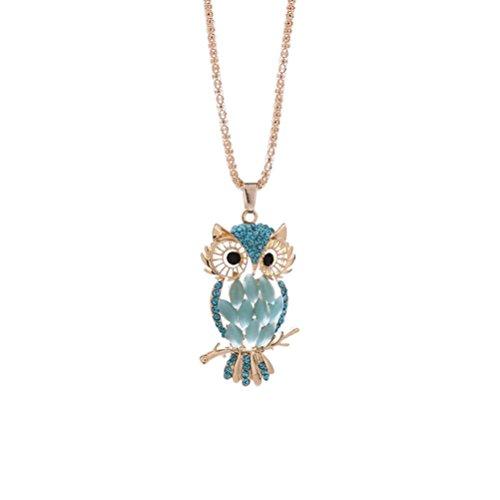 Deals Owl Pendant Necklace Women Vintage Glass Cabochon Necklace Jewelry by ZYooh (Blue)
