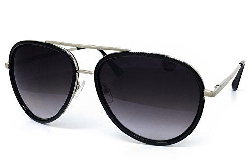 O2 Eyewear 66010 Premium Aviator Vintage Hippie Retro Womens Mens Sunglasses (BLACK LENS, SILVER - Black Sunglases