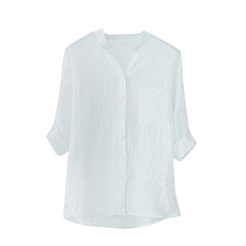 Mauve Apparel (Clearance Sale! FarJing Women Cotton Solid Long Sleeve Shirt Casual Loose Blouse Button Down Tops (Size: XL, White))