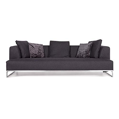B & B Italia Solo Anthracite Gray Fabric Sofa Three-Seater Designer Couch by Antonio Citterio
