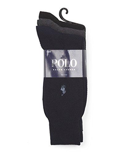 Polo Ralph Lauren Men's Textured Dress Socks - 3 Pair - Polo Friday Lauren Black Ralph