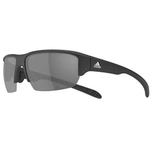 adidas Kumacross Halfrim A421 6063 Rectangular Sunglasses, Black Matte, 64 mm