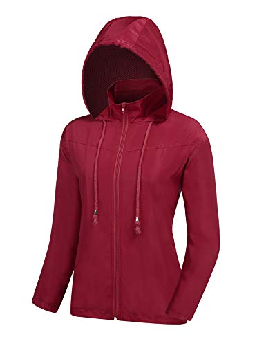 ZEGOLO Women's Raincoats Waterproof Windbreaker Lightweight Active Outdoor Hooded Rain Jacket for Hiking/Running/Camping Red XX-Large