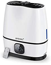 Arovec Cool & Warm Mist Ultrasonic 6L Humidifier, Large Water Tank, Aroma Diffuser, For Large Room, Bedroom, Baby Room, Intuitive Touch, Timer, Sleep Mode, Built-in Water Level, Waterless Auto Shut-off, Remote Control, Water Filter Cartridge, Germ Free, 2-Yr Warranty, AroMist-6000 (1 Pack)
