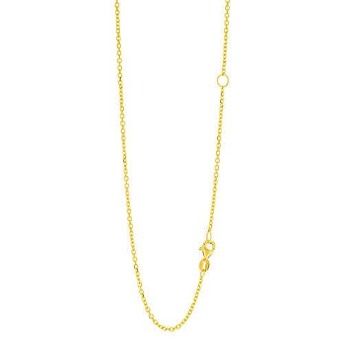 - 14k Yellow Gold 1.5mm Diam-cut Classic Cable Chain Necklace Lob-clasp Extender Extender At 16 Inch