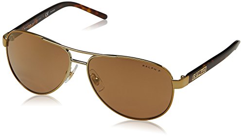 Ralph by Ralph Lauren Women's 0ra4004 Polarized Iridium Aviator Sunglasses, GOLD, 59.0 ()