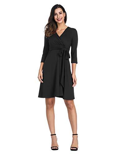 Akivide Women Maternity Jersey Flare Baby Shower Dress 3/4 Sleeves Black M Black Jersey Wrap Dress