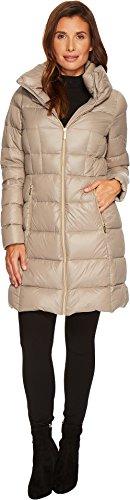 MICHAEL Michael Kors Womens Zip Front Horizontal Quilt Down M822275CZ Taupe LG One Size - Michael Kors Womens Coats