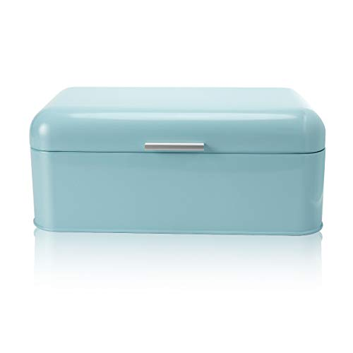 - SveBake Bread Box for Kitchen Retro Design Carbon Steel Bread Bin with Powder Coating, Turquoise (Included a Free PDF Baking E-BOOK)