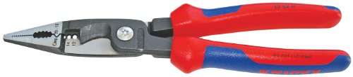 Knipex Tools 13 82 8, 6 in 1 Electrical Installation Pliers with Comfort Grip Handle, Red and Blue