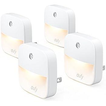 eufy Lumi Plug-In Night Light, Warm White LED Nightlight, Dusk-To-Dawn Sensor, Bedroom, Bathroom, Kitchen, Hallway, Stairs, Energy Efficient, Compact, ...