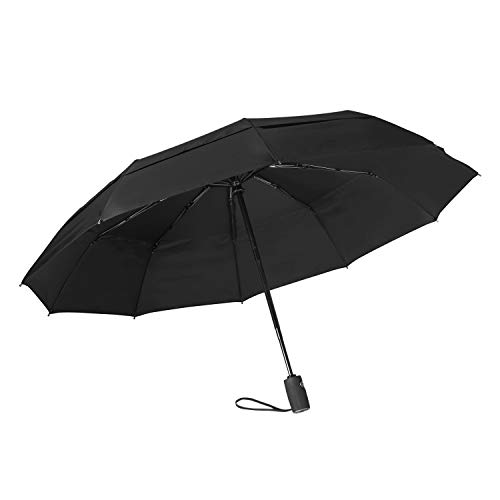 Auto Open//Close Button Starry Sky Mountains Night Sea Stars Shore Compact Travel Umbrella with Windproof Double Canopy Construction