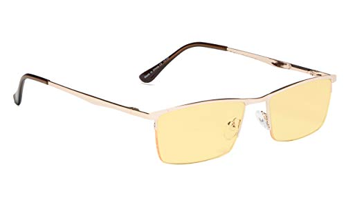 Blue Light Filter Computer/Gaming/Reading Glasses Half-Rim with Amber Tinted - Gold Lens Lite