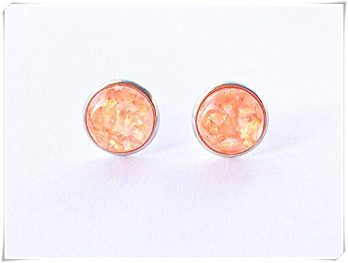 Orange Holographic Earrings, Peach Pearl Pattern Stud Earrings, Sweetie Earrings,Dome Glass Ornaments, Hand-Made