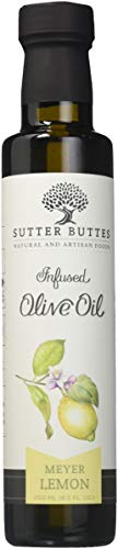 Sutter Buttes Extra Virgin Olive Oil - Meyer Lemon Infused (250 ml bottle) Handcrafted, Artisan Gourmet EVOO Cold Pressed and Flavored w/ Premium Fresh Lemon Juice, Unfiltered, Unrefined Olive Oil