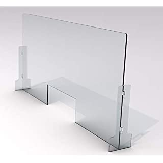 """SneezeDefense Protective Sneeze Guard for Counter & Desk - Freestanding Clear Acrylic Shield for Business & Customer Safety, Portable Plexiglass Barrier, Pass Through Transaction Window (36""""W x 24""""H)"""