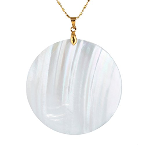 (SUNYIK Round White Abalone Shell Pendant Necklace, Necklaces for Women)