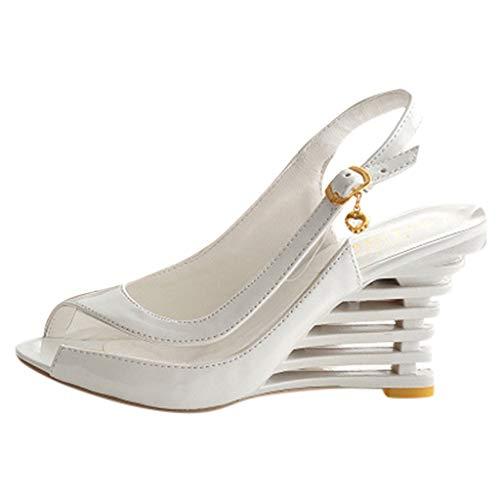 Respctful✿Women's Fashion High Platform Wedges Sandals Shoes Summer Ankle Strap Shoes Open Toe Flip Flops Summer Slipper White