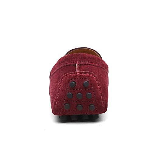 Buena CCZZ Rojo Loafers Hombre Plano Comodidad de Vino Mocasines Calidad EU de 49 Gamuza 38 Casual Conducción Calzado Zapatos Cuero RCqFC
