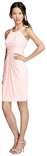 Short Mesh Bridesmaid Dress with High Neck Beading Style F19112, Petal, 18