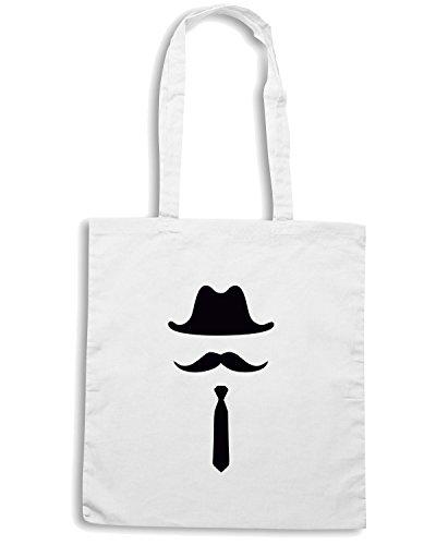 T-Shirtshock - Bolsa para la compra TR0026 Bowler Hat Moustache Vintage Indie Geek Long Tie Blanco