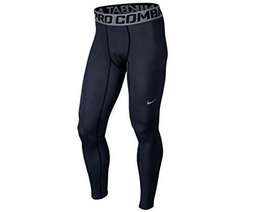 Mens Nike Pro Combat Hyperwarm Lite Compression Tights (X-Large, Obsidian/Cool Grey)