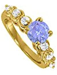 December Birthstone Tanzanite and CZ Ring 1.50 TGW