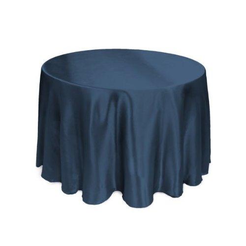 Light Blue Elegance Round Tablecloth (LinenTablecloth 108-Inch Round Satin Tablecloth Navy Blue)