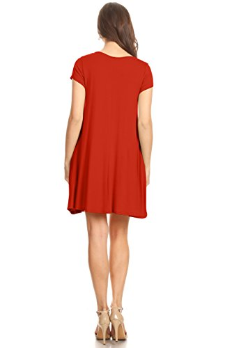 Flowy T Reg Plus Tunic Casual Dress and Women Dress Pockets Rust for with USA Shirt Size avAxqnwxp