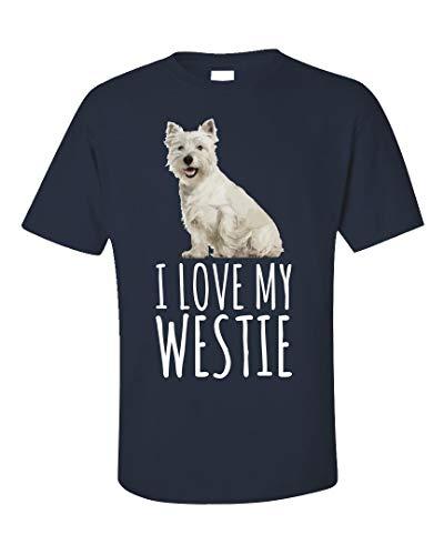 (West Highland Terrier Dog Cute Design I Love My Westie - Unisex T-Shirt Navy)