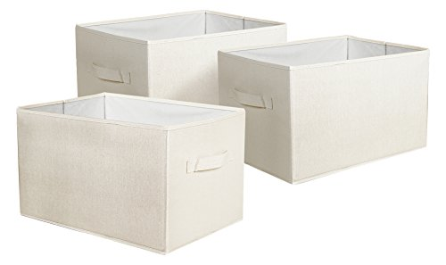Lush Decor Linen Fabric Covered 3 Piece Collapsible Storage Box Set, 14