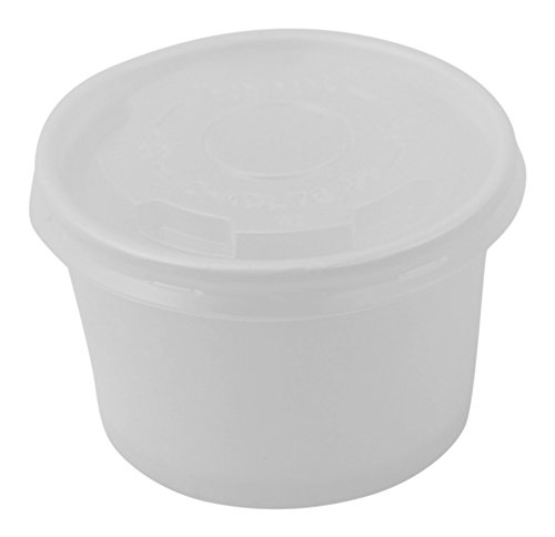 100 Count Deli Containers Durable Food Storage Containers with Lids, Hot and Cold Disposable Containers Use for Frozen Desserts, Soups, or Any Food of Your Choice (4oz) Container Flat Lid