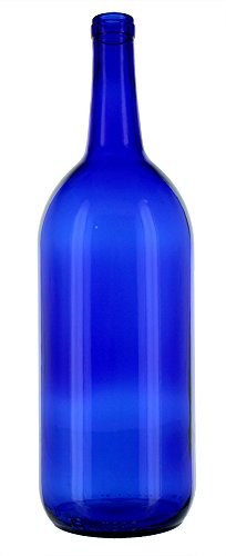 6 - Cobalt Blue Bordeaux Flat Bottom 1.5 Ltr. Glass Bottles for Bottle Trees, Crafting, Parties,Wedding Center Piece , Decor , Home Brew , Beer, Wine by Antiques Ahead (Image #2)