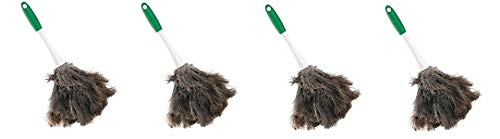 Libman Commercial 239 Handheld Feather Duster, Polypropylene and Sanoprene Handle, 13'' Total Length, Green and White Handle (Pack of 6) (4-(Pack))