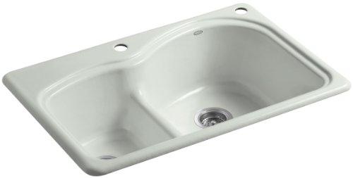 Woodfield Cast Iron Kitchen Sink - Kohler K-5839-2-FF Woodfield Smart Divide Self-Rimming Kitchen Sink with Medium/Large Basins and Two-Hole Faucet Drilling, Sea Salt