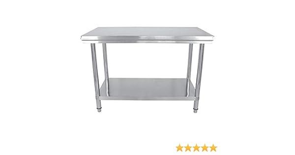 Mesa de trabajo de acero inoxidable bar color plateado mesa de cocina altura regulable Aufun restaurante mesa de trabajo de acero inoxidable para cocina