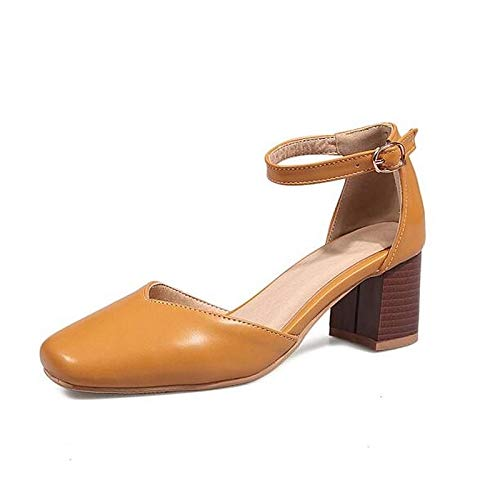 Polyurethane Shoes PU Pump Chunky Spring White Orange Women's Basic Heel Black Orange ZHZNVX Heels qHUntxZ