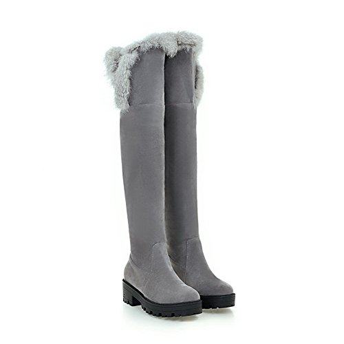 AgooLar Women's Low-Heels Solid Round Closed Toe Frosted Pull-on Boots Gray HVaaYm88OJ