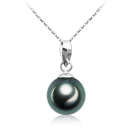 Tahitian Cultured Black Pearl Pendant Necklace 9-10mm Round Sterling Silver Jewelry for Women - VIKI LYNN Silver Tahitian Cultured Pearl