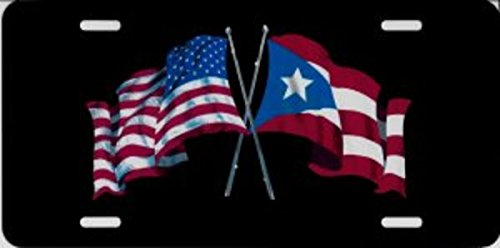 United States And Puerto Rico Crossed Flags Photo License Plate