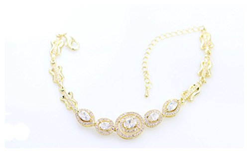 Costume Estate Jewelry Bracelet - AJ Designer Italian design luxury Zircon bracelet for women (White)