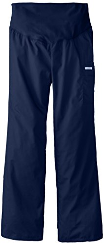Maternity Flare Scrubs Pant (Cherokee Women's Tall Maternity Knit Waist Pull-On Pant, Navy Blue, Small)