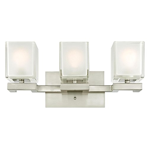 Cheap  Westinghouse 6332200 Nyle Three-Light Indoor Wall Fixture, Brushed Nickel Finish with Glazed..