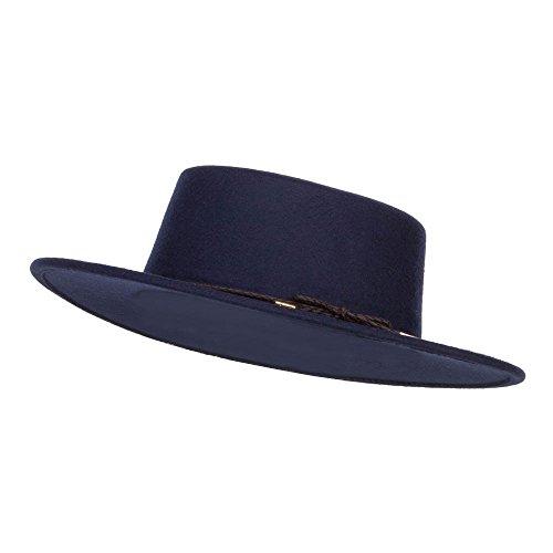 SS/Hat Poly Faux Felt Boater Hat - Navy OSFM