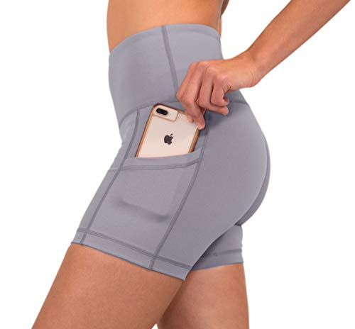 (90 Degree By Reflex - High Waist Power Flex Yoga Shorts with Side Pocket - Frosted Lilac - Medium)